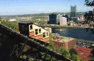 Th Monongahela Incline with view of Pittsburgh